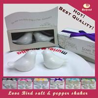 Wholesale ceramic bird salt resale online - Ceramic wedding favors giveaways for guests of love birds salt and pepper shakers for Bridal Shower Party Favors sets