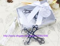 marcadores cruzados al por mayor-200 unids envío libre de DHL de acero inoxidable Cross Bookmark para la boda Baby Shower Party Bookmarks Favor regalo