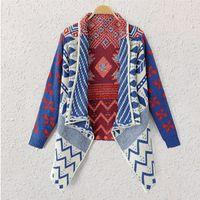 Wholesale Clothing Shrugs - Wholesale- Brand Autumn Winter Geometric Pattern Women Knitted Coat Sweater Ladies Cardiga feminino Clothes Shrug Poncho Knitwear JY-551