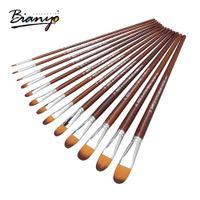 Wholesale acrylic paint art supplies - Bianyo 13pcs Artist Filbert Nylon Hair Acrylic Painting Brush Set For School Children Drawing Tool Watercolor Brush Art Supplies
