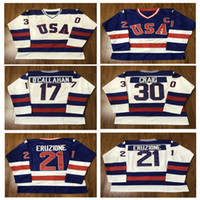 Wholesale Blue Year - men's 30 Jim Craig 21 Mike Eruzione 17 Jack O'Callahan 1980 USA Hockey Jersey Team USA Miracle On Alternate Year Jerseys