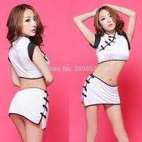 Wholesale White Sexy Lingerie Cheongsam - w1023 Sexy Lingerie white&black charm cheongsam flower top shirt+dress+g string 3pcs set