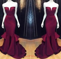 Wholesale Cheap Prom Desses - Real Image 2015 Cheap Burgundy Prom Desses Formal Dresses Sweetheart Satin Evening Dresses Sexy Mermaid Party Gowns