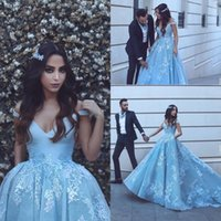 Wholesale Newest Style Evening Gown Dresses - Arabic Dubai Style Evening Dresses Formal 2018 Newest A Line V Neck Light Blue Appliqued Sexy Off Shoulders Long Party Prom Gowns Vestidos