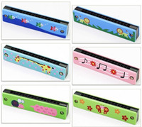 Wholesale harmonica 16 - 16 Holes Harmonicas Many Styles Musical Early Educational Toy Cartoon Creative Design Harmonica Gift 3 56hh C R