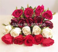 Wholesale Dark Red Artificial Flowers - estive Party Supplies Decorative Flowers Wreaths Velet Roses Artificial Flowers Rose Green Leaf Cream Pink Hot Pink Red Dark Red 67cm 26....