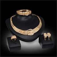Wholesale indian belts women for sale - Group buy Fashion Women K Gold Plated Crystal Pendant Wedding Party Belt Design Statement Necklace Earrings Jewelry Sets