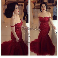 Wholesale Slim Elegant Formal Dress - 2017 Elegant Dark Red Formal Mermaid Evening Dresses Off The Shoulder Sexy Backless Pageant Prom Gowns Shiny Sequins Slim Vestidos De Noiva
