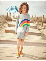 rainbow fashion long dress al por mayor-Rainbow Blanco Nube Impreso Red Button Suéteres Otoño Moda Breve Casual Largo Suéter Vestido Gris B0388