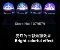 Wholesale-4pcs, LED-220V E27 RGB Colorful Effect Rotating Mini Round Bulb Kristall Magic Ball Light Stage Lampe für Music Bar KTV Beleuchtung