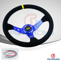 Wholesale Drifting Leather - PQY STORE- Blue Steering wheel ID=14inch 350mm OMP Deep Corn Drifting Steering Wheel   Suede Leather Steering wheels PQY-SW21B