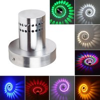 Gros-Fashion Illusion 3W LED Wall Spiral plafonniers Home Decor Fixture Aluminum Lamp