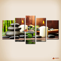 Wholesale White Canvas Painting Green - 5 Panel canvas Art Botanical Green Feng Shui White Candle Wall Painting On Canvas Wall Pictures For Living Room canvas prints Cheap home Dec