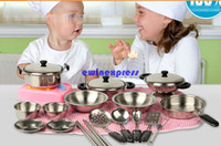 Wholesale Metal Toy Kitchen - 18pcs set Let's Play House kitchen toys girl boy Baby kids kitchen sets food cooking tools kitchenware tableware pretend playing