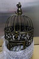 cages à oiseaux pour les mariages achat en gros de-Bronze cages décoratives en fer gaiola cages à oiseaux décoratifs mariages remise cages à oiseaux livraison gratuite