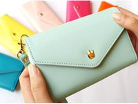 Wholesale Envelope Smart Pouch - 2016 Hot!PU Leather Handbag Wallet Pouch Bag Case for Cell Mobile 4S 5S 6s Phone Crown Smart Envelope Case With Card Holster