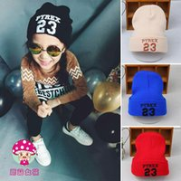 Wholesale Childrens Wholesale Red Hats - Wholesale-2015 New Autumn winter 23 letter embroidery knitting hat childrens warm wool hat boy girl personality fashion hat Free shipping