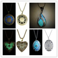 Wholesale silver chains flower heart pendants resale online - Mix style Luminous Beads locket necklaAtlantis Glowing Necklace Hollow Flower Square Cube Pendant Silver Plated Chain Statement Necklace