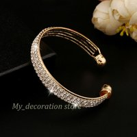 Wholesale Crazy Bracelets - Crazy hot sell high end and popular fashion charming crystal wedding bracelet with three line of crystal