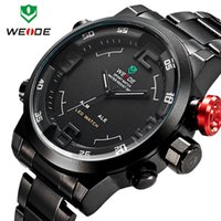 Wholesale Functional Water Brands - 2016 Men's Brand WEIDE Top Brand Watch Men Sports Series Luxury Logo Multi-functional Analog Quartz Digital Alarm Stopwatch Big Clock For Ma