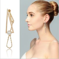 Wholesale Nail Dangle Gold - Freeshiping Is Euro-American new style of two-sided earring pearl double the layer exaggerate tassels ear to nail an ear decoration