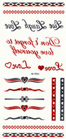 Wholesale Tattoos Express - 100 Sheets Flash Tattoo Red Sivler Metallic Tattoo Sticker Temporary Body Art Tattoos12 Models for Choose Free Express