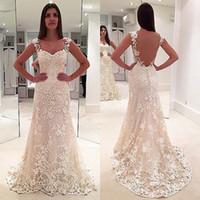 Wholesale Long Barato - vestido de noiva barato sweetheart cap sleeves see through back wedding dress white lace long elegant wedding dress