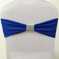 Wholesale Spandex Bands Rhinestone - Wholesale-200pcs White Lycra Stretch Chair Bow Sashes Spandex Chair Bands With Removable Mesh Rhinestone Buckle For Wedding