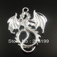 Wholesale Dragon 35 - Wholesale-Free Shipping Vintage Style Silver Tone Alloy Flying Dragon Pendant Fashion Charm 35*28mm 24PCS 32440