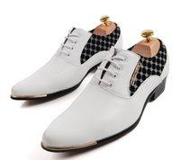 Wholesale Men Groom Shoes - 2016 Designer new white groom wedding shoes shoes men's casual business shoes leather lace-up cusp dress liqinghui2011