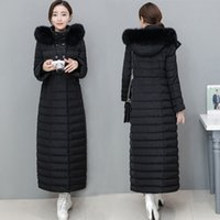 Wholesale Womens Real White Fur Coat - X Long Down Jackets Womens Winter Coats Duck Down Parkas Warm Thick Outwear Overcoat Real Fox Fur Hooded High Quality Snow Clothes