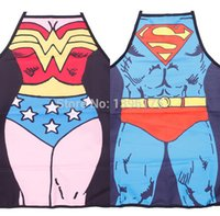 Wholesale 2 Funny Novelty Sexy Dinner Party Superman Cooking Kitchen Apron Wonder Woman Man funny kitchen cooking apron