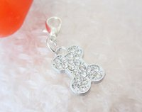Wholesale zinc alloy dog bone rhinestone pendant charms diy Pet Tag