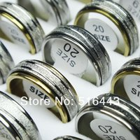 Wholesale Steel Rotating Rings - Hot Selling 30pcs Frosted Stainless steel Double Layer Spin Rotate Mens Womens Silver Gold Rings Wholesale Lots A-299 309