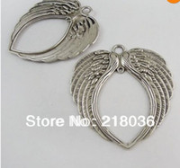 Wholesale Made For Love - 10pcs Antiqued Silver Vintage Feather Angel Love Wing Pendants Charm For Bracelet Necklace Jewelry Making Findings Accessories HOT M688