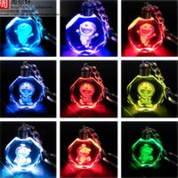 Wholesale Boxing Ring Bell - Doraemon Tinker Bell Cartoon Anime Action Figure Toys LED Crystal Keychain With Colorful Night Light Key Chain Ring Pendant Gift Box Packing