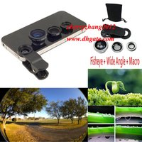 Wholesale Mobile Camera Kit - 3 in 1 Universal Clip cell phone Fish Eye lens Macro Wide Angle Mobile Phone Lens Camera kit For iPhone 6 5S 4 samsung HTC LG