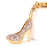 Wholesale high heel shoe pendants - Crystal High Heels Shoes Key Chains Rings Holder Flower Enamel Bag Pendant For Car Keyrings Key Chains