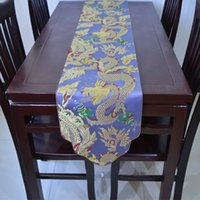 Wholesale Dark Purple Table Runners - Vintage Dragon Table Runner Luxury Thicken Chinese style High-density Silk Brocade Table Cloth for Wedding Christmas Birthday Festive Decor