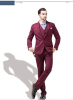 Wholesale Hot Pink Men S Vest - Hot Recommend Burgundy Groom Tuxedos Notch Lapel Men Prom Suit Business Suit (Jacket+Pants+Vest+Tie) G985