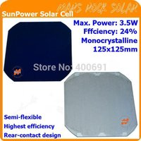 Wholesale 5x5 Monocrystalline Solar Cells - 24% Highest efficiency 3.55W 5x5'' (125x125mm) SunPower Solar Cell, for make semi flexible solar panel---highest quality!!!