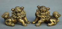Folk chinês Feng Shui Pure Copper Brass Fu Foo Dog Lion Pair Figurine Statue