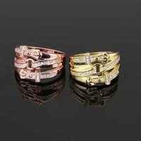 Wholesale Belt Buckle Rhinestone For Men - belt buckle ring Love Angle's Wing Rhinestone crystal Rings Fashion Brand CZ Diamond Wedding Jewelry For Women Anel steel men ring jewelry