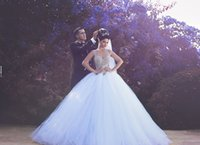 Wholesale Beautiful Dresses For Brides - New Design 2016 A-line Crystal Wedding Dresses Bridal Gown With Tulle for the layers Lace Appliques Chapel Train Beautiful Bride