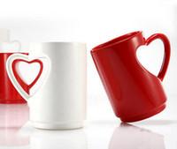ingrosso caffè rosso bianco-RECESKY love cup Tazza da caffè per gli amanti 380ML con tazza di caffè in ABS di colore rosso e bianco