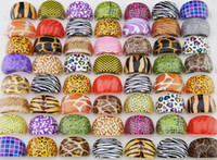 Wholesale Silver Plated Tiger - Wholesale Fashion Multicolored Pink Purple Leopard Tiger Pattern Resin Platsic Rings For Women Jewelry Bulk Lots LR411