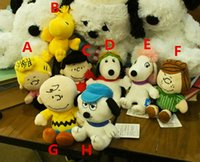 Wholesale Peanuts Christmas Figures - Peanuts Comics Plush Toys 20cm Snoopy Charlie Brown Figures Doll 8 Styles Stuffed Animals Dolls For Kids Christmas Gifts Free Shipping