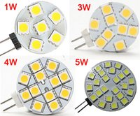 Wholesale Leds Lights For Trucks - 1W 3W 4W 5W G4 LED Spotlight SMD 5050 DC 12V G4 LED Lamp Light LED Bulb Bubls 6 9 12 24 Leds for Car Truck Boat RV Home Shop Replace Halogen