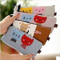Wholesale Cat Pattern Bag - Lovely Cat Pair Lover pattern Pencil bag   Strips Flower Pencil Case Stationery Pen Bag, Cosmetic Bag, Make up Pouch Hot sale 4 colors