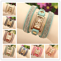relógios de mulher venda por atacado-Alta Qualidade New Velvet Wrap Mulheres Quartz Leather Wrist Watches Dial Retangular Charme Bangle Mix Cores